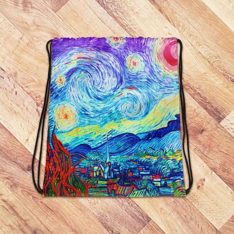 Starry Night Bag Tote Bag Drawstring Bag Workout Gym Bag image 0