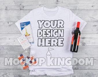 Download Free Unisex Crew Neck Mockup, Disney Mockup, Food and Wine Festival Mockup, Epcot Mockup, Flatlay Mockup, Bella 3001 Mockup, White Shirt Mockup PSD Template