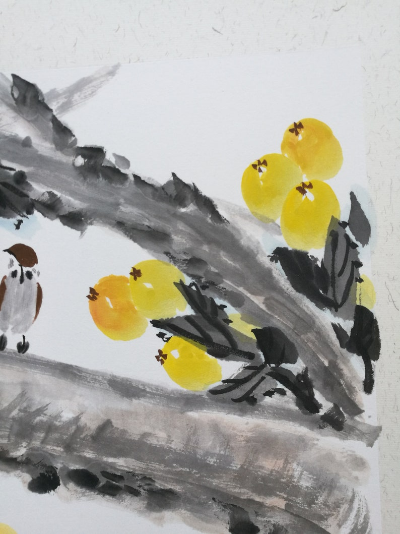 Traditional Chinese painting,Loquat painting Framed Chinese ink Painting