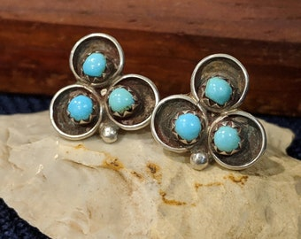 7b0a05419 Authentic Native American Sterling Silver Turquoise Stud Earrings by Famed  Navajo Artist Fannie Platero