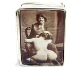 Victorian Style Enamel Naughty Erotic 39 Painter 39 Pill Snuff Box 925 silver