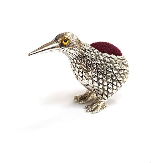 Victorian Dodo Bird Pin Cushion 925 Sterling Silver Sewing Needle Velvet
