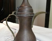 rare old vintage middle eastern Turkish Ottoman Egyptian Antique Dallah coffee pot Islamic Bedouin Arabian brass red copper pre 1930