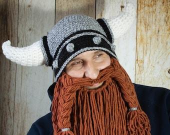 a88f3cad39f Crochet Viking Helmet pattern - Horned helmet with beard PDF pattern -  Instant Download Crochet Pattern - Hat with beard pattern