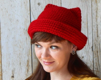 6cfacdb8784 Instant Download Crochet Pattern - Cat Hat Crochet Pattern - Crochet Cat  Hat Pattern - Womens Hat - Hat with ears