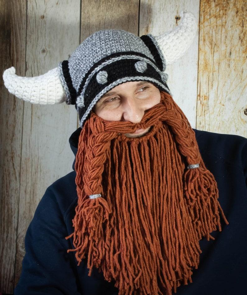 Crochet Viking Helmet Pattern Horned Helmet With Beard Pdf Etsy