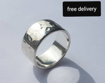 Chunky Silver Ring, hammered finish, handmade