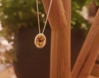 Citrine Sliding Pendant Gemstone Silver Necklace
