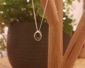 London Blue Topaz Sliding Pendant Gemstone Silver Necklace