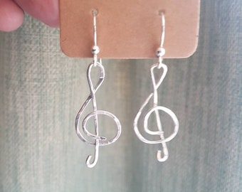 Hammered silver earrings, music treble clef, handmade
