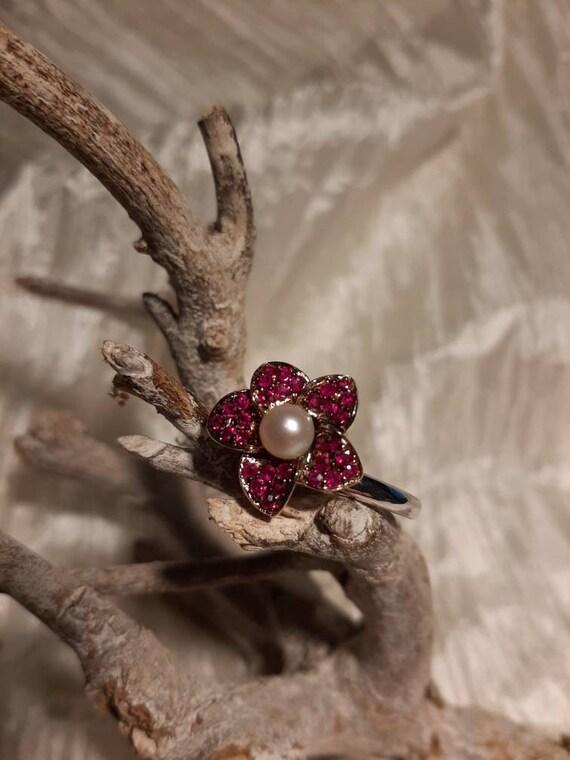 Ring Silver 925 Ruby Breeding Pearl Flower Flower