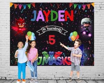 PJ Mask Backdrop Birthday Digital Printable Pj Decoration Prop Party