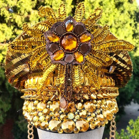 Captain Sailor Rave Festival Party Hat Military Doof Hat Burning Man Gold Crystal Cap Headpiece