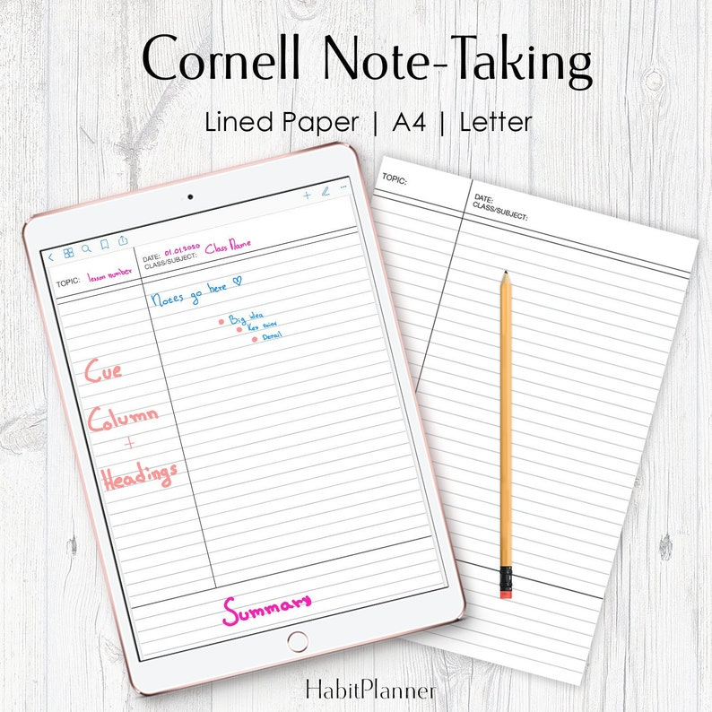 image about Printable Note identified as Cornell Notes Printable, Cornell Technique, Cl Notes, University student Cl Notes, College student Printable, A4 and Letter, Included Notice Paper