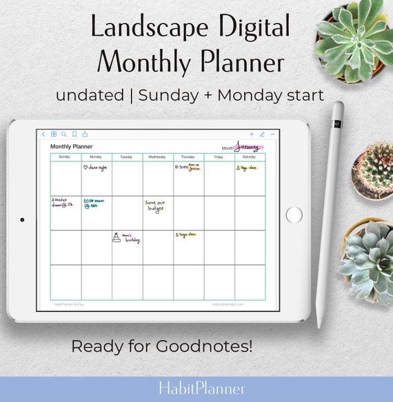 undated goodnotes planner horizontal monthly planner digital etsy