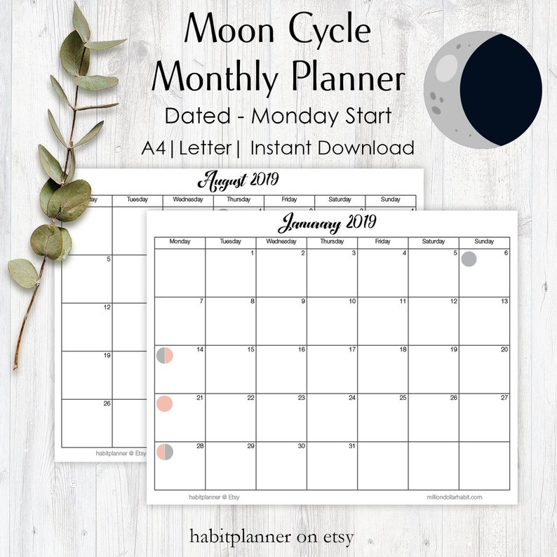 Moon Phases Calendar.Moon Cycle Calendar Lunar Phase Calendar Moon Phases 2019 Calendar Digital Moon Cycle Planner Monthly Planner 2019