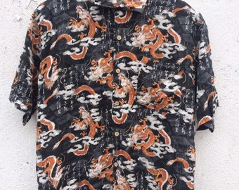 c94cf6d91 Japanese Hawaii style Button up down shirt / vintage japanese hawaii style  shirt /vintage dragon grafic button up t shirt