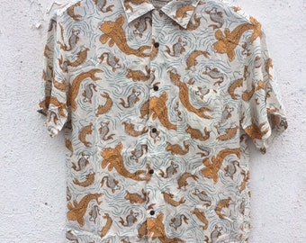 69bf4722 Japanese Hawaii style Button up down shirt / vintage japanese hawaii style  shirt /vintage koi fish button up t shirt
