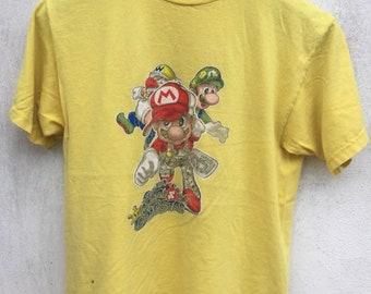 3dd453eb5f50 Vintage Super mario gangstas shirt / vintage 90's video game tee / vintage  super mario tee