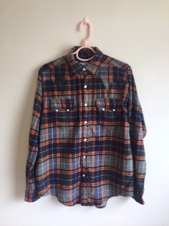 Vintage Rockmount Men's Plush plaid Flannel  Weste