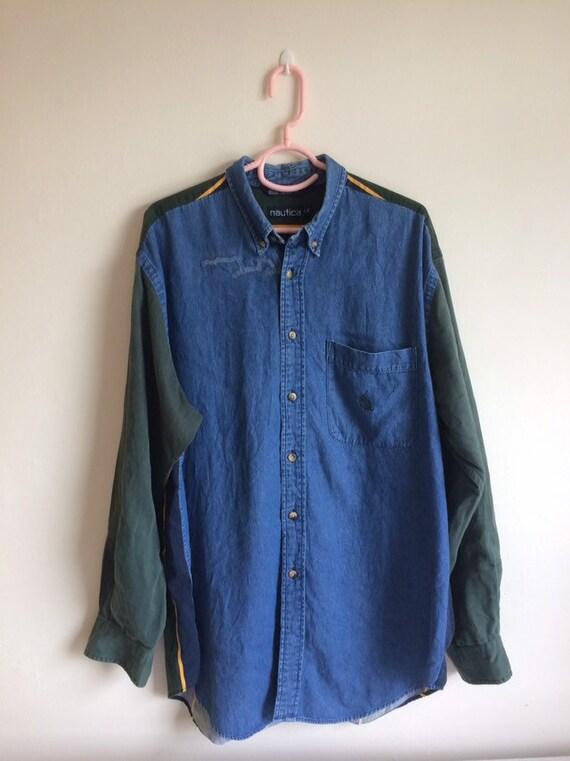Vintage 90's Nautica Button Downs t shirt/ Vintage