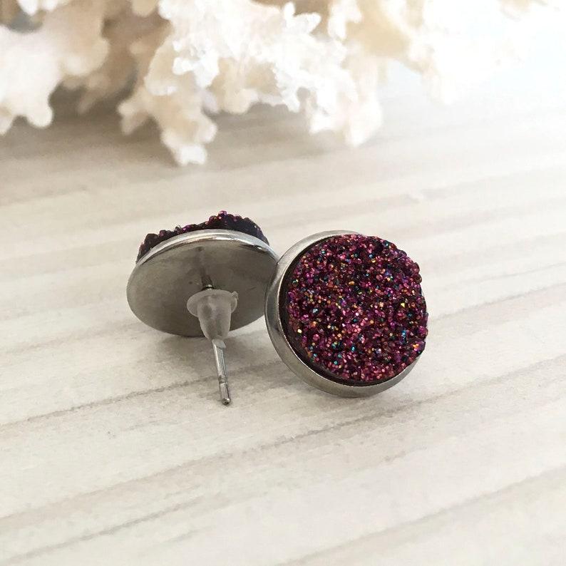 bridesmaid gift red stud earrings Burgundy druzy earrings