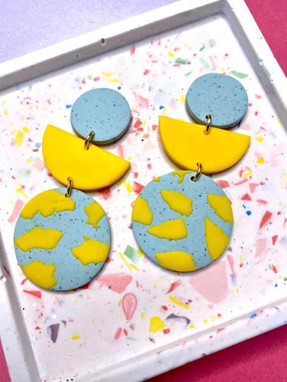 Yellow and grey stone terrazo large dangle earrings, statement earrings, handmade clay earrings