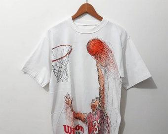 610fb803a71d Vintage T shirt wilson graphic tee shirt 90's abstract basketball print
