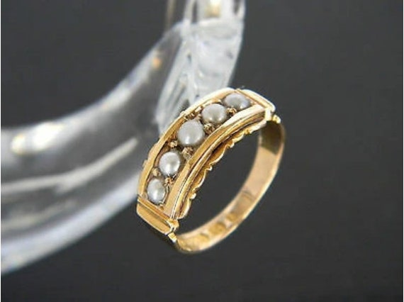 Antique Victorian 15ct Gold Pearl Ring! From 1866