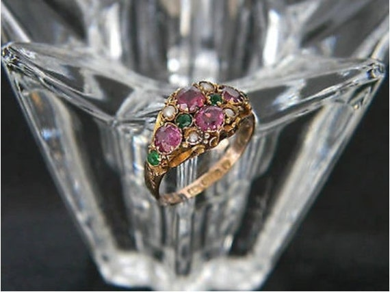 Antique Victorian! 9ct Gold Multi Gemstone Ring! A