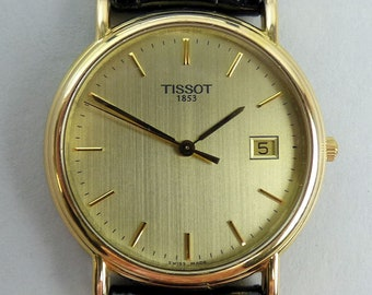 3b970a5a4 TISSOT 18K GOLD QUARTZ Date Adjust Wristwatch & Box in good working order