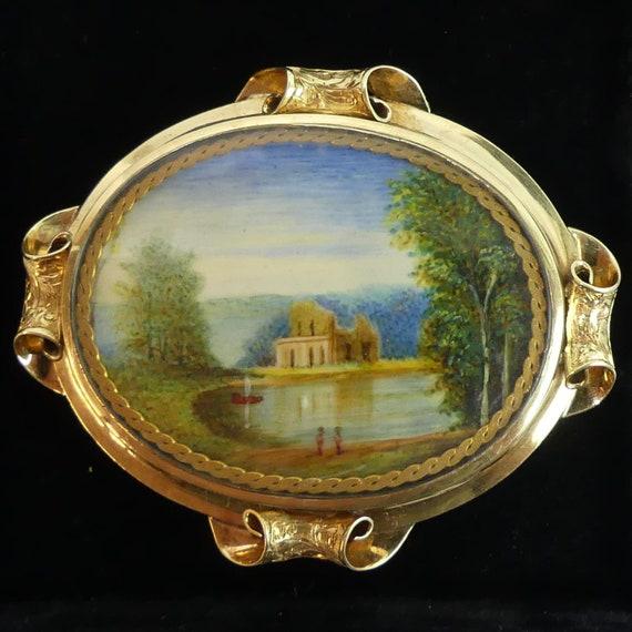 VICTORIAN ANTIQUE 15 ct GOLD hand painted miniatur
