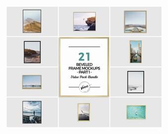 Download Free 21 Bevel Styled Picture Frame Mockups Value Bundle Part 1, Empty Frames, Digital JPG/PNG/PSD Frame Files, Wall Art Frame Mockups PSD Template