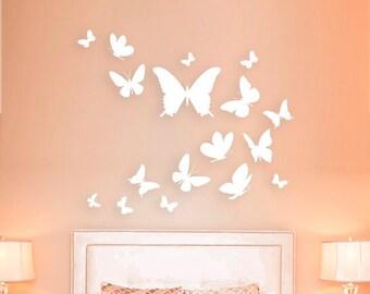 8561ca6cf 3d wall art,Wooden Set of 17 butterflies,Nursery wall decor,Modern wall  art,Flock of butterflies,Bedroom wall decor,Housewarming gift
