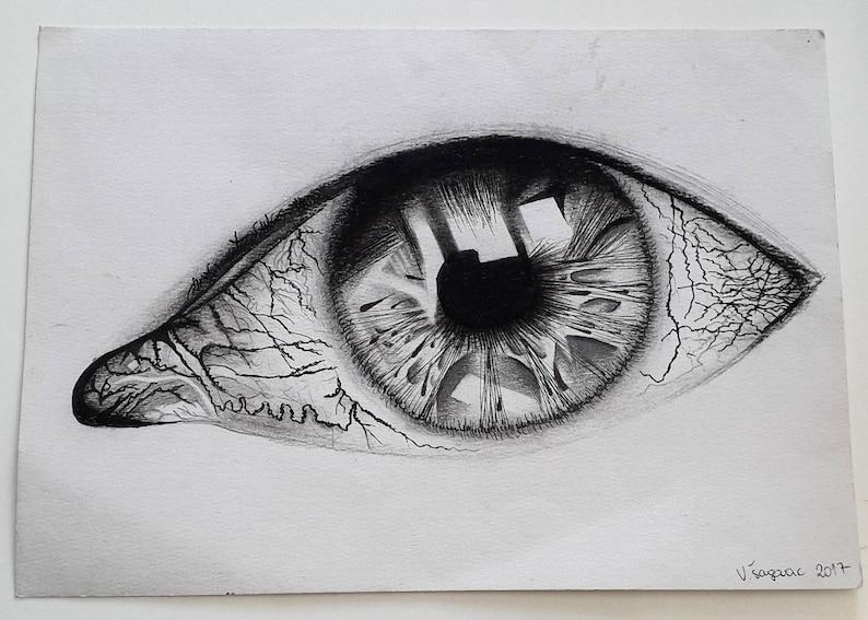 Oeil de décoration dessin noir et blanche réaliste / moderne / | Etsy