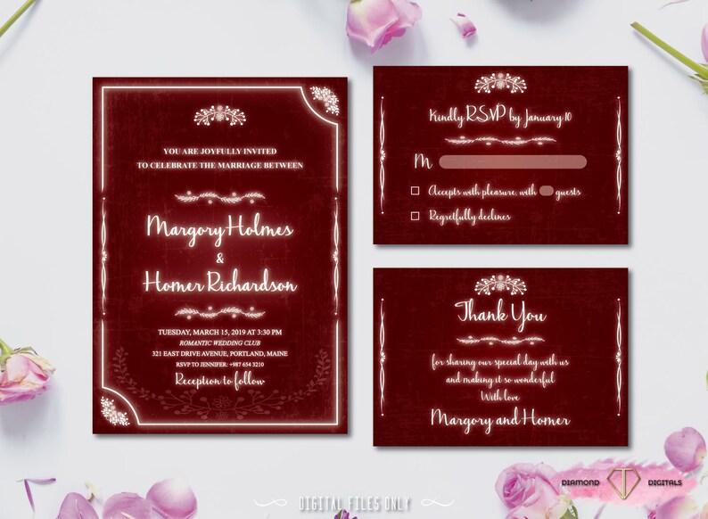 Rustic Burgundy Wedding Invitation Printable Wedding Set Neon Glow Letters Boho Wedding Suite