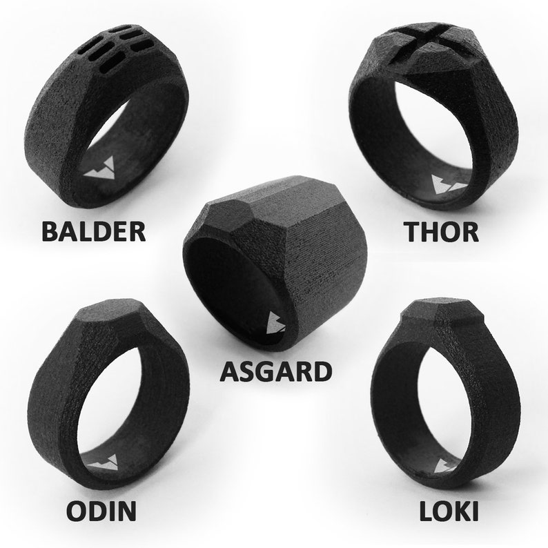 Steel jewelry anniversary Black statement ring men 11th anniversary steel anniversary for him 11 year anniversary gifts for men ODIN S