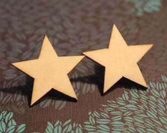 natural wood brooch star Wood brosche-plug stern