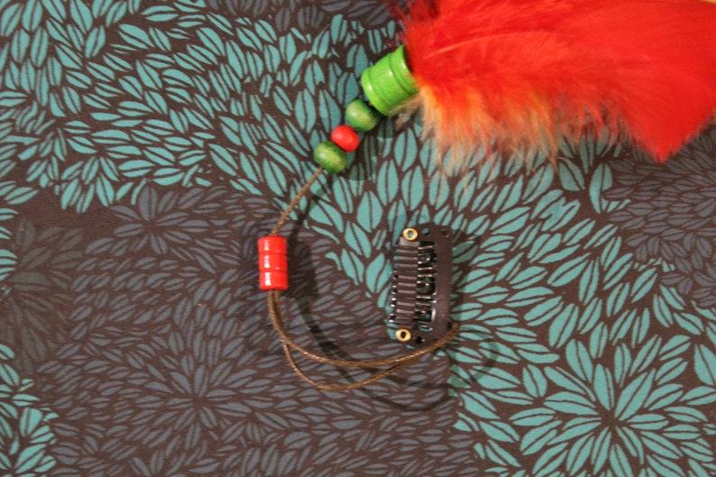 Hair Clip Fascinator red orange green Feather Glitter cute magic Indian enchants playful Charm Gift
