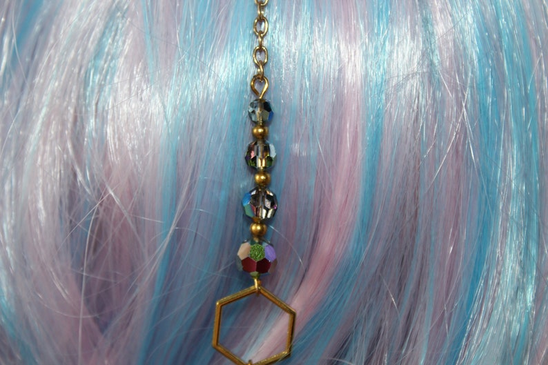Hair clip hair chain hexagon honeycomb gold colorful glitter party glass beads summer magic elf fairy witch feminin cosplay playful charm gift