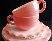 Pink Ruffle Crinoline Tea Cup Saucer Hazel Atlas Crinoline Snack Dessert Lunch Set