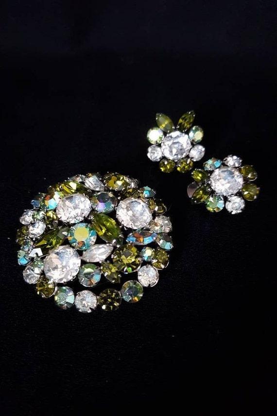 1950s Vintage Jewelry Mid Century Multicolored Rhinestone Earrings