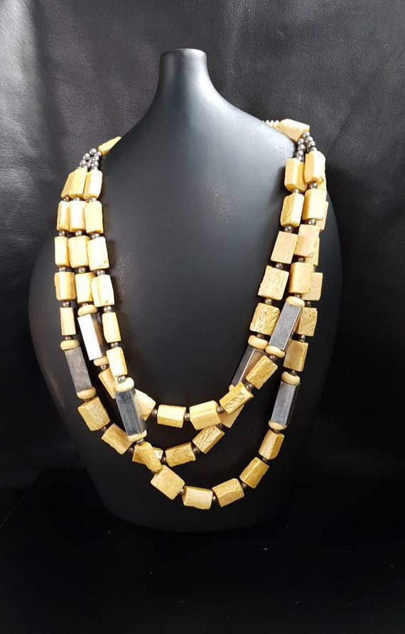 Mid Century Raw Baltic Amber Necklace/ 1960 Brutal