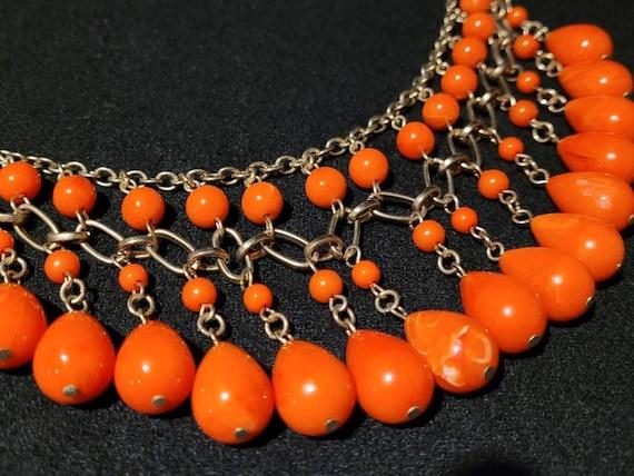 Art Deco Bib Necklace/ 1930's Faux Coral Festoon N