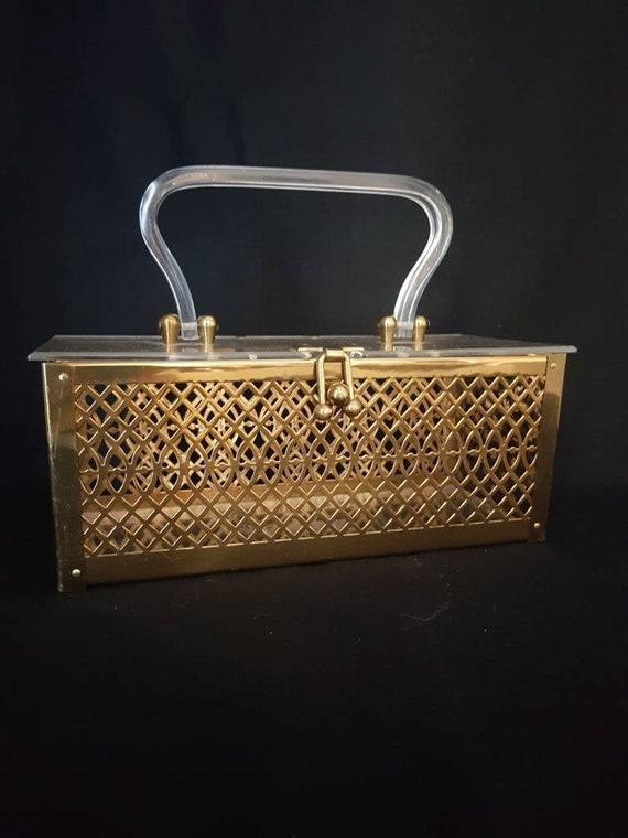 1950's Lucite & Metalwork Box Purse/ Brass Filigre