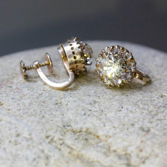 Soviet silver earrings Screw back earrings Antique