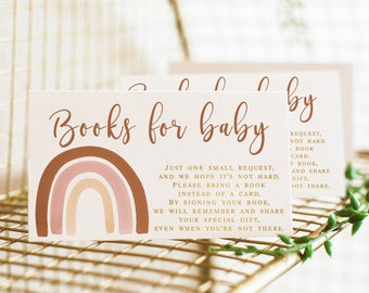 Books for Baby Cards Printable, Boho Rainbow Baby Shower Book Request Card Insert, Muted Bring a book instead of a card Instant download 014