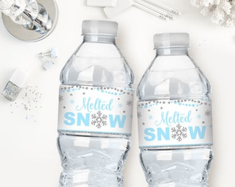 Melted Snow Water Bottle Labels Etsy