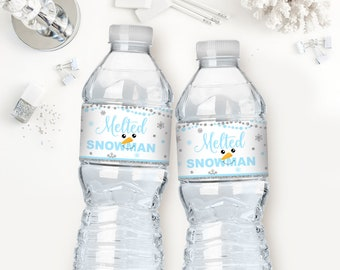 Melted Snowman Water Bottle Labels Pink And Silver Glitter Etsy