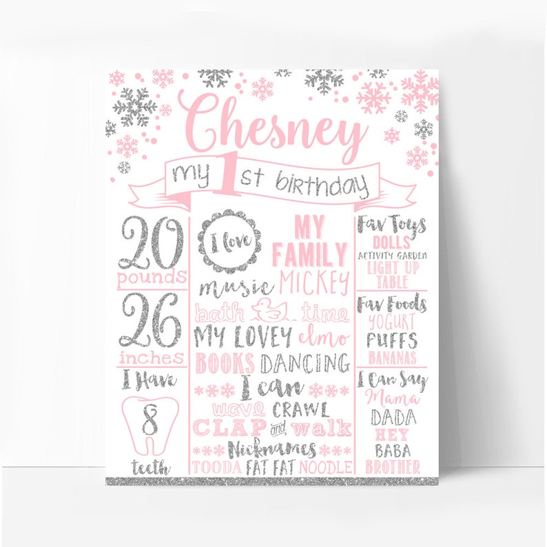Any age 005 snowflakes pink and silver first birthday party bunting Winter onederland happy birthday banner printable baby shower